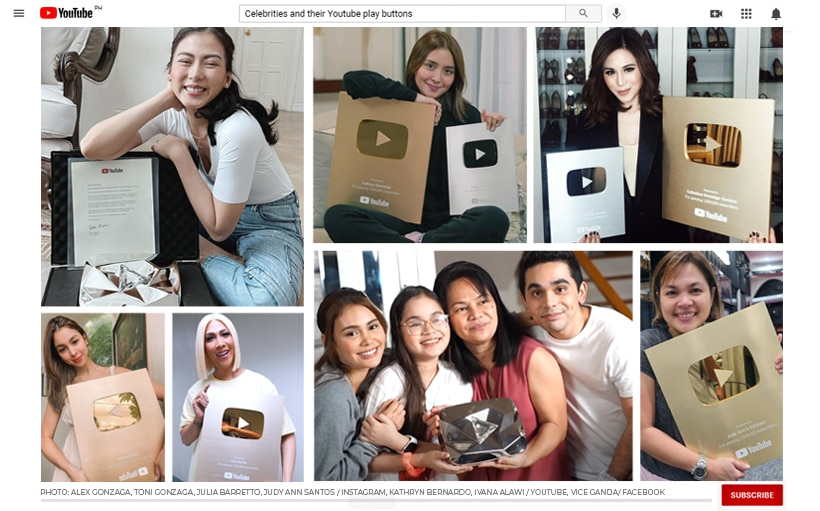 PHOTOS: Celebrities and their Youtube play buttons