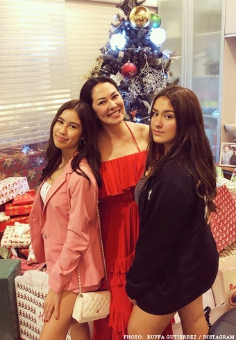 Ruffa Guitterez with daughters Lorin and Venice