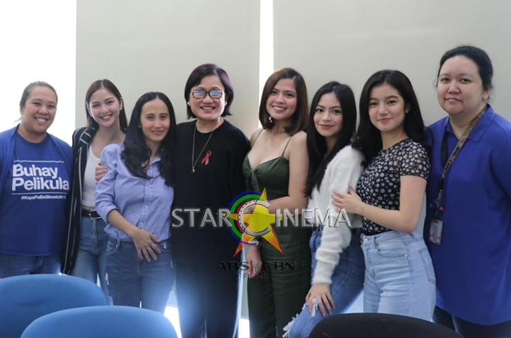 """The cast and director of """"Four Sisters Before the Wedding"""" with Star Cinema Managing Director Olivia Lamasan and writer Ms. Vanessa Valdez"""