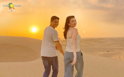 Coco Martin, Angelica Panganiban, and beautiful Dubai in the 'Love or Money' poster