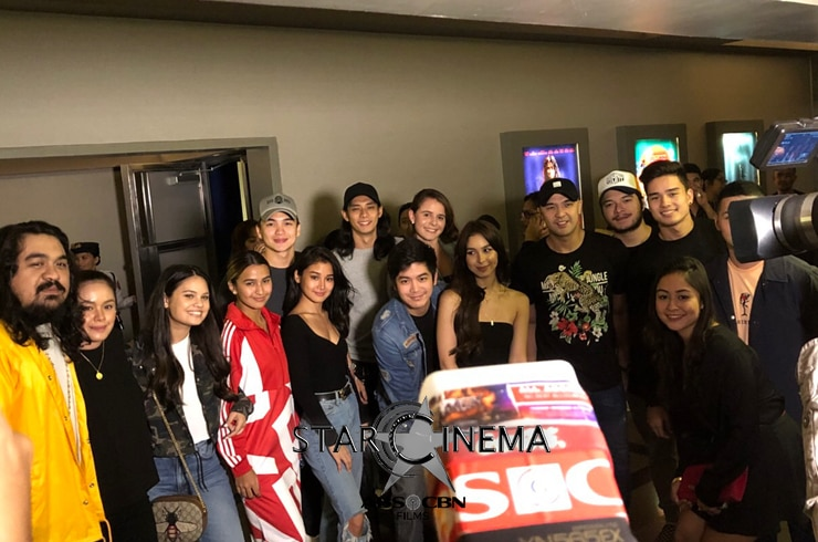 Super happy after the screening! JoshLia with Dominic Roque, Luis Hontiveros, Chie Filomeno, Marco Gumabao, Issa Pressman, and Leila Alcasid