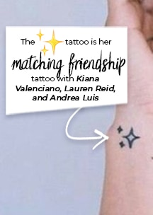 The ✨ tattoo is her matching friendship tattoo with Kiana Valenciano, Lauren Reid, and Andrea Luis