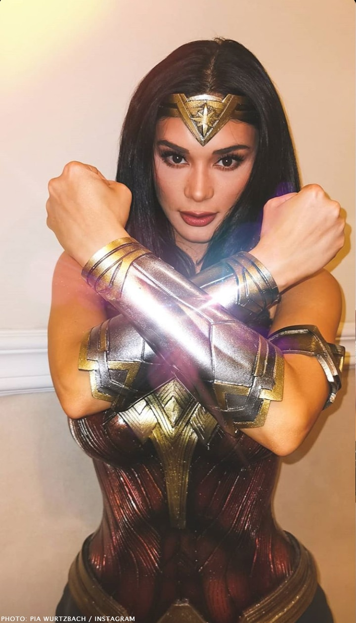 Pia Wurtzbach and her Wonder Woman Halloween getup