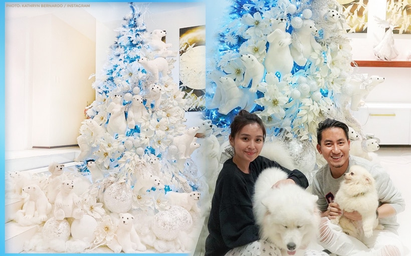 Kathryn shows off Christmas tree decorated with plush polar bears!
