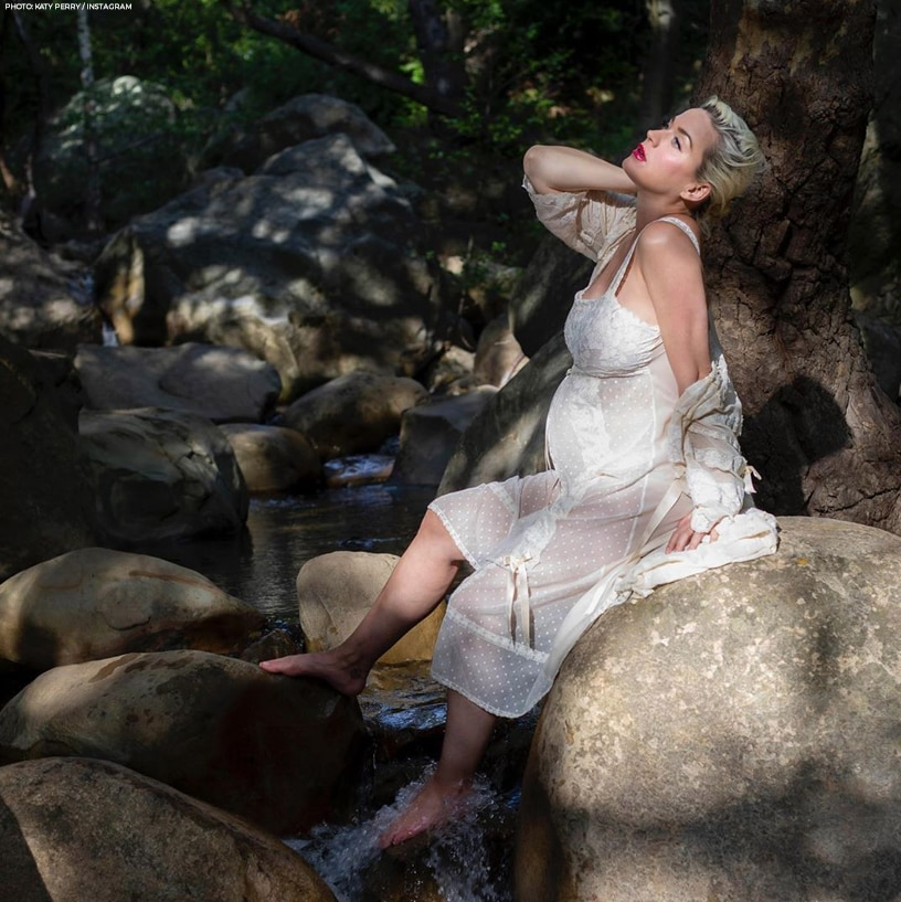 Katy Perry showed off her baby bump through a beautiful white see-through dress in a nature-inspired shoot. Reports say she's giving birth this 2020 to a baby girl!
