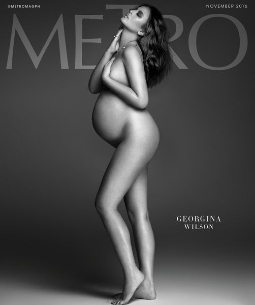 The pregnant Georgina Wilson graced the cover of Metro Magazine's November 2016 issue with nothing but jewelry.