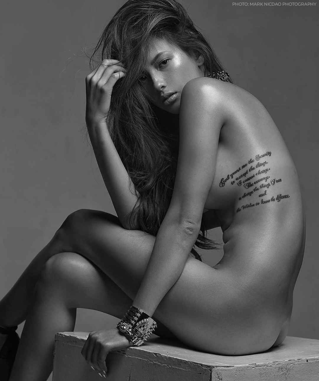 Ellen Adarna's tattoo of Reinhold Niebuhr's quote by her rib cage